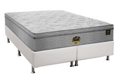 Conjunto Cama Box - Colchão Probel de Molas Pocket Vip Plus + Cama Box Universal Couríno White
