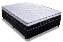 Conjunto Cama Box - Colchão Probel de Molas Pocket Perfil Springs Plus + Cama Box Base Universal Nobuck Nero Black