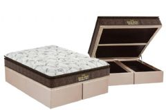 Conjunto Cama Box Baú - Colchão Probel de Espuma Guarda Costas Extra Firme Plus D28 Pillow Top + Cama Box Baú Nobuck Bege
